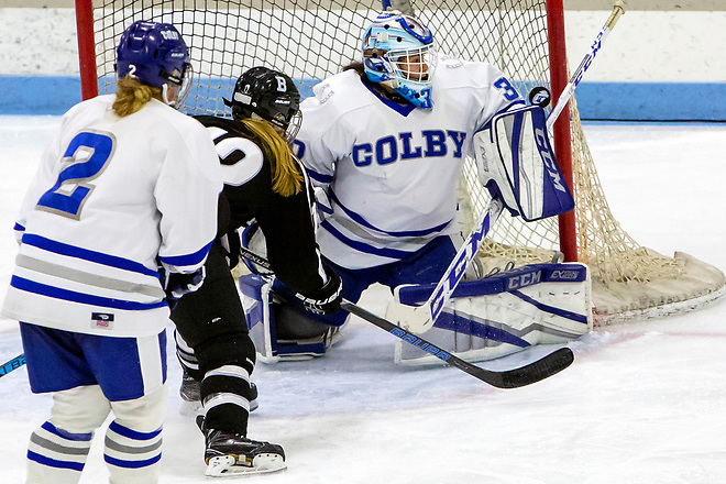 WATERVILLE, ME - NOVEMBER 17, 2018 Colby College's Cierra San Roman makes a save from Bowdoin College during their hockey game at Colby Saturday. (Photo by Ashley L. Conti) (Ashley L. Conti)