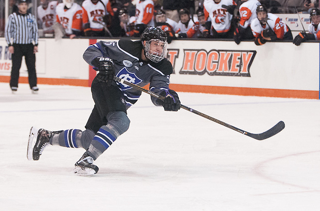 Spencer Trapp (5 - Holy Cross) had an assist in a 4-0 win at RIT (Omar Phillips)