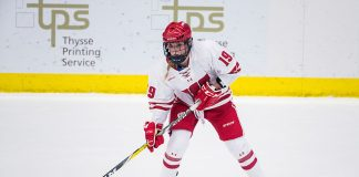 Wisconsin Badgers Annie Pankowski (19) handles the puck during an NCAA WCHA Conference women