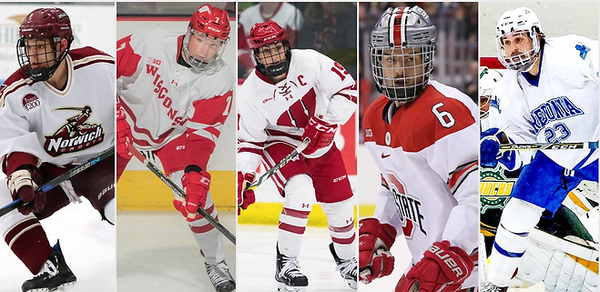 Cam Beecy, Jake Bunz, Annie Pankowski, Tommy Parran and Luke Rivera are this year's Hockey Humanitarian Award finalists (photos: Norwich Athletics, Wisconsin Athletics, Ohio State Athletics, Fredonia Athletics). ((photos: Norwich Athletics, Wisconsin Athletics, Ohio State Athletics, Fredonia Athletics).)