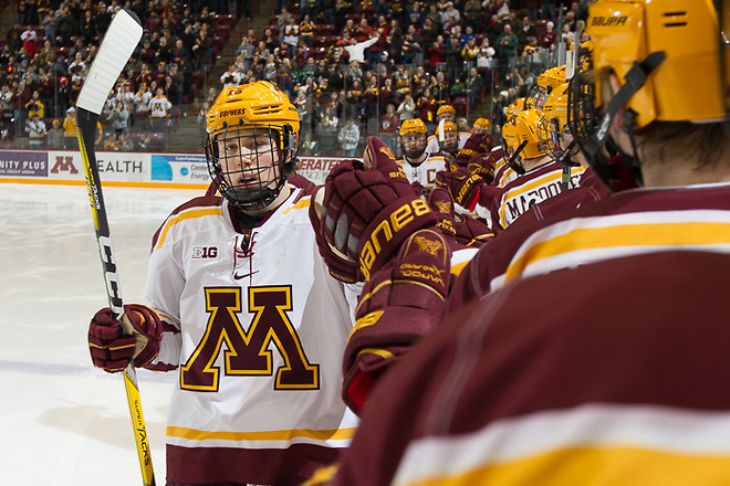 03 Feb 17:  Rem Pitlick (Minnesota - 15). The University of Minnesota Golden Gophers host the Penn State Nittany Lions in a B1G matchup at Mariucci Arena in Minneapolis, MN (Jim Rosvold/University of Minnesota)
