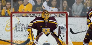 6 Oct 18: Mat Robson (Minnesota - 40). The University of Minnesota Golden Gophers play against the University of Minnesota Duluth Bulldogs in a non-conference matchup at AMSOIL Arena in Duluth, MN. (Jim Rosvold/University of Minnesota)