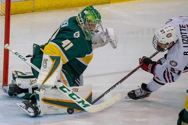 19 Oct 18:  Atte Tolvanen (Northern Michigan - 41), Blake Lizotte (St. Cloud - 27). The St. Cloud State University Huskies host the Northern Michigan University Wildcats in a non-conference matchup at the Herb Brooks National Hockey Center in St. Cloud, MN. (Jim Rosvold)