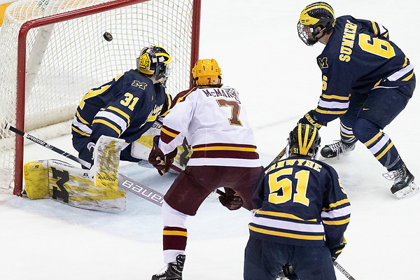 8 Mar 19: The University of Minnesota Golden Gophers host the University of Michigan Wolverines in quarterfinal round of the 2019 B1G Men's Ice Hockey Tournament at 3M at Mariucci Arena in Minneapolis, MN. (Jim Rosvold)