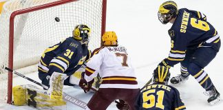 8 Mar 19: The University of Minnesota Golden Gophers host the University of Michigan Wolverines in quarterfinal round of the 2019 B1G Men