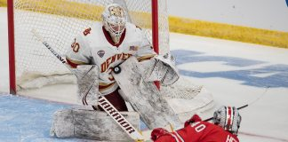 29 Mar 19: The Denver University Pioneers play against the Ohio State University Buckeyes in a 2019 West Regional semifinal matchup at Scheels Arena in Fargo, ND. (Jim Rosvold)