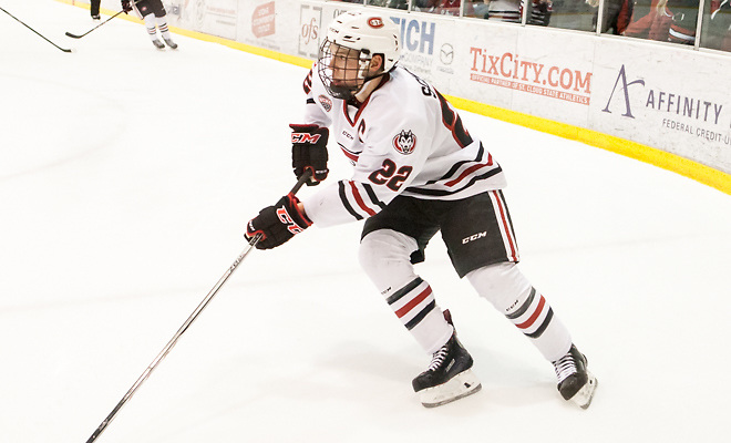 Jimmy Schuldt (SCSU-22) 2018 Jan. 12 The St.Cloud State University Huskies host Mankato State University n a non conference matchup at the Herb Brooks National Hockey Center in St. Cloud, MN (Bradley K. Olson)