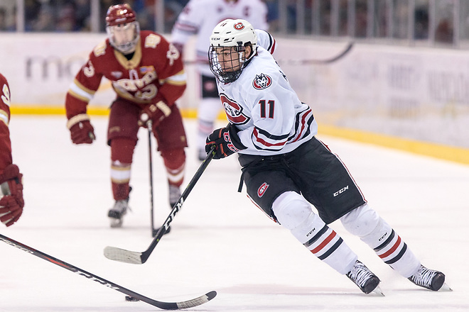 Ryan Poehling (SCSU-11) 2018 November 10 St.Cloud State University hosts Denver in a NCHC contest at the Herb Brooks National Hockey Center in St. Cloud, MN (Bradley K. Olson)