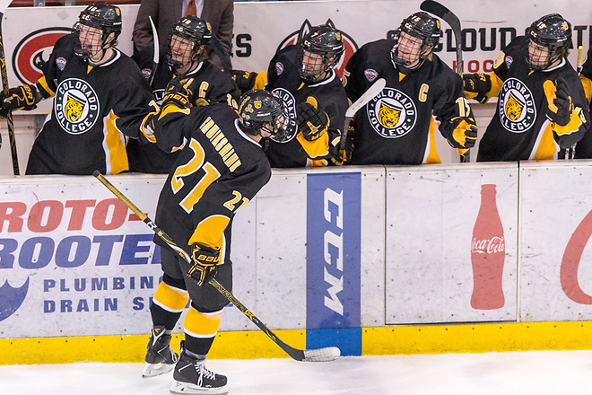 Grant Cruikshank (Colorado College- 21) 2019 February 9 St. Cloud State University hosts Colorado College in a NCHC contest at the Herb Brooks National Hockey Center (Bradley K. Olson)