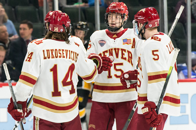 Jarid Lukosevicius (Denver-14) Ian Mitchell (Denver-15) Lester Lancaster (Denver-5) 2019 March 23 Denver and Colorado College meet in the 3rd place game of the NCHC  Frozen Face Off at the Xcel Energy Center in St. Paul, MN (Bradley K. Olson)