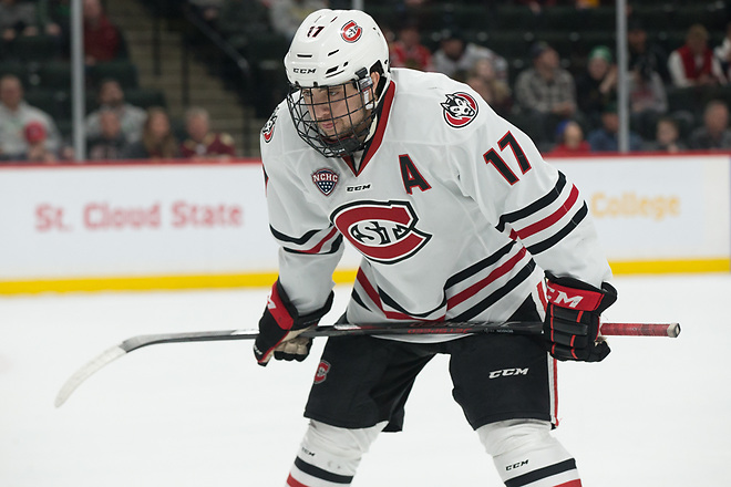 Jacob Benson (SCSU-17) 2019 March 23 University of Minnesota Duluth and St. Cloud State University meet in the championship game of the NCHC  Frozen Face Off at the Xcel Energy Center in St. Paul, MN (Bradley K. Olson)