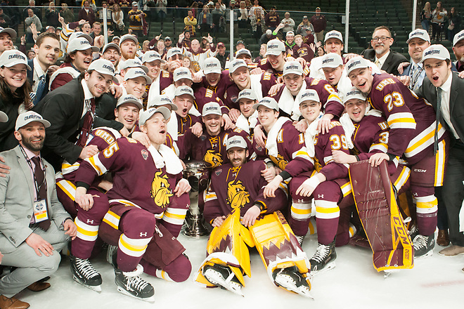 UMD Bulldogs Champions 2019 March 23 University of Minnesota Duluth and St. Cloud State University meet in the championship game of the NCHC  Frozen Face Off at the Xcel Energy Center in St. Paul, MN (Bradley K. Olson)