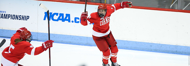 Gillis Frechette celebrates the game-winner against Northeastern (Cornell Athletics)
