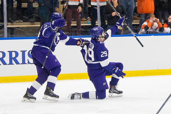 Ludwig Stenlund (29 - Niagara University) celebrates the game winner in overtime (2019 Omar Phillips)
