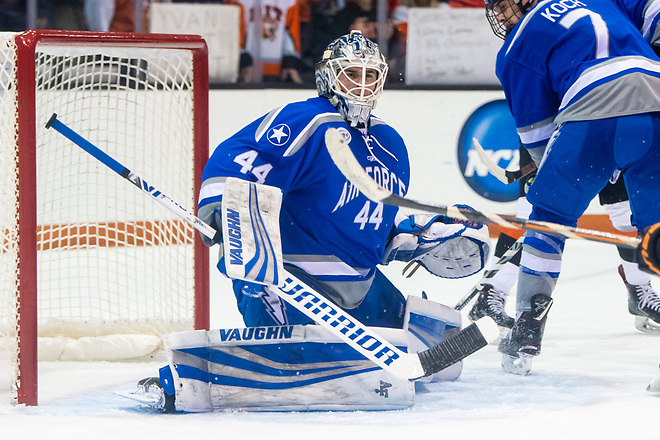 Billy Christopoulos (44 - Air Force) had 31 saves in a shutout win at RIT (2018 Omar Phillips)