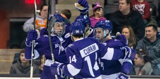 Niagara players celebrate a third period goal (2019 Omar Phillips)