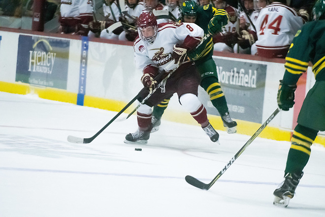 Felix Brassard of Norwich scored the overtime winner to send the Cadets past UNE to Frozen Four. (Norwich Athletics)