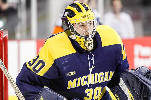 JAN 26, 2018: Hayden Lavigne (Michigan - 30) The #6 Ohio State Buckeyes shut out the #20 Michigan Wolverines 4-0 at Value City Arena in Columbus, OH. (Rachel Lewis - USCHO) (Rachel Lewis/©Rachel Lewis)