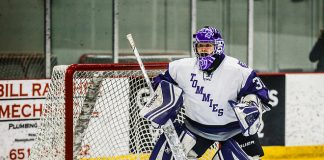 Kenzie Torpy plays goal during a women