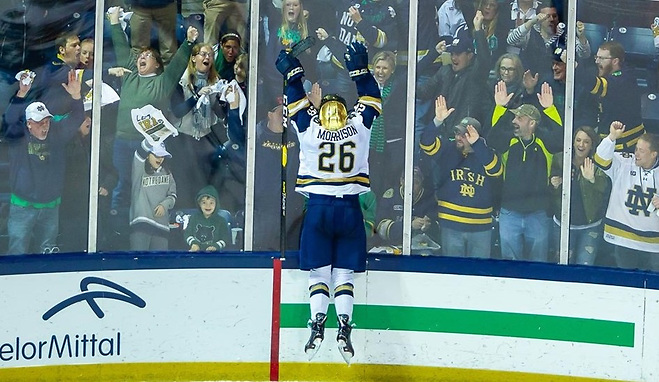Cam Morrison celebrates his goal Saturday night that proved to be the game-winner for Notre Dame (photo: Mike Miller/Fighting Irish Media)