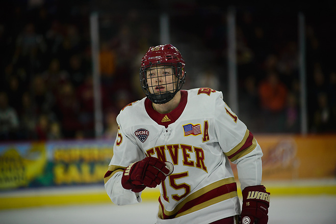 Ian Mitchell of Denver, Providence at Denver at Magness Arena, Nov. 24, 2018 (Candace Horgan)