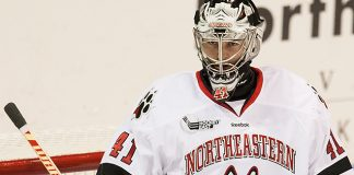 Ryan Ruck (NU - 41) The Northeastern University Huskies defeated the Bentley University Falcons 7-3 in their home opener at Matthews Arena on Saturday, October 15, 2016 in Boston, Massachusetts. (Melissa Wade)