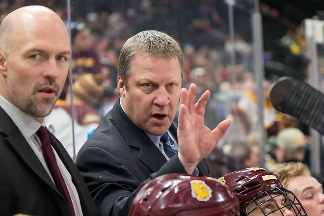 28 Jan 17: Brett Larson (Minnnesota Duluth - Assistant Coach, Scott Sandelin (Minnesota Duluth - Head Coach). The University of Minnesota Duluth Bulldogs play against the St. Cloud State University Huskies in the Championship game of the North Star College Cup at the Xcel Energy Center in St. Paul, MN. (Jim Rosvold)