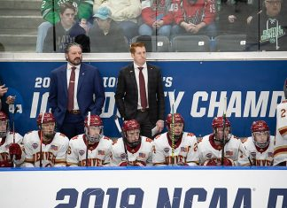 29 Mar 19: The Denver Pioneers play against the American International Yellow Jackets in the 2019 West Regional final at Scheels Arena in Fargo, ND. (Jim Rosvold)