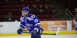 Kyle Haak of Air Force, Air Force vs. Boston College 10-7-16, Icebreaker Tournament, Magness Arena, Denver, Colorado. (Candace Horgan)