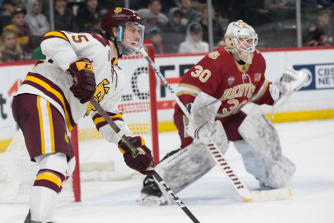 Peter Krieger (Minnesota-Duluth-25) Filip Larsson (Denver-30) 2019 March 22 Denver and University of Minnesota Duluth meet in the semi finals of the NCHC  Frozen Face Off at the Xcel Energy Center in St. Paul, MN (Bradley K. Olson)