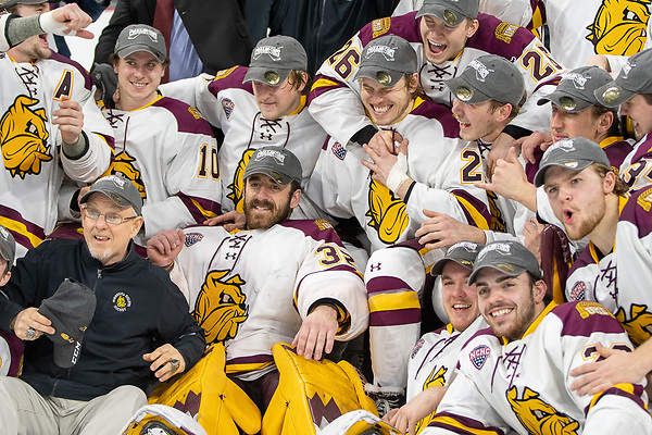 UMD players celebrate after winning the Midwest Regional final (2019 Omar Phillips)