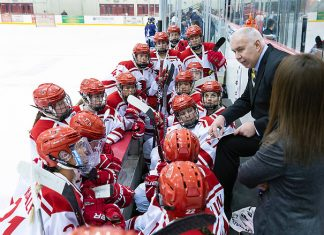 Kevin Houle behind the bench at Plattsburgh (Plattsburgh Athletics)