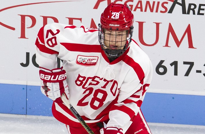 Joel Farabee (BU - 28) - The visiting Providence College Friars defeated the Boston University Terriers 5-0 on Friday, October 26, 2018, at Agganis Arena in Boston, Massachusetts. - The visiting Providence College Friars defeated the Boston University Terriers 5-0 on Friday, October 26, 2018, at Agganis Arena in Boston, Massachusetts. (Melissa Wade)