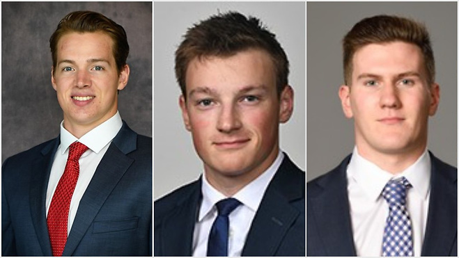 Jimmy Schuldt (SCSU), Cale Makar (UMass) and Adam Fox (Harvard) make up the 2019 Hobey Hat Trick (photos: St. Cloud State, Massachusetts, Harvard athletic departments). (Tim Brule)