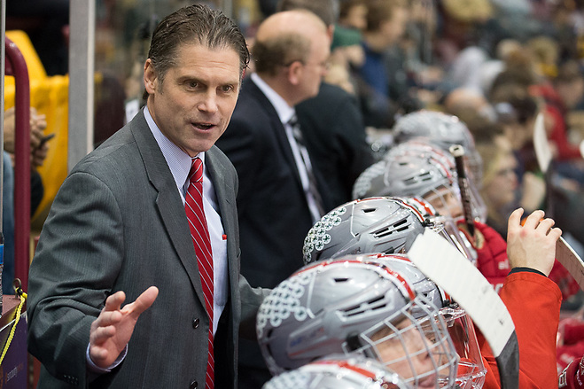 16 Feb 18:  Steve Rohlik (Ohio State - Head Coach).  The University of Minnesota Golden Gophers host the Ohio State University Buckeyes in a B1G matchup at Mariucci Arena in Minneapolis, MN (Jim Rosvold/USCHO.com)
