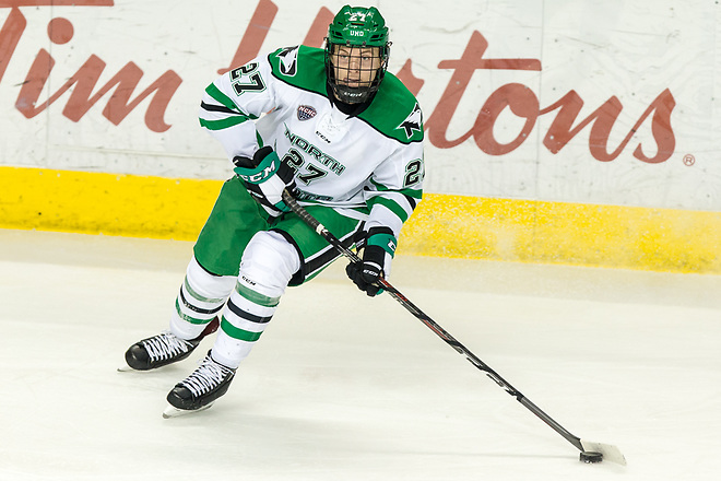 Ludvig Hoff (North Dakota-27) 2019 January 12 University of North Dakota hosts Colorado College in a NCHC matchup at the Ralph Engelstad Arena in Grand Forks, ND (Bradley K. Olson)
