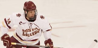 Zach Sanford (BC - 24) - The Boston College Eagles defeated the visiting University of New Brunswick Varsity Reds 6-4 in an exhibition game on Saturday, October 4, 2014, at Kelley Rink in Conte Forum in Chestnut Hill, Massachusetts. (Melissa Wade)