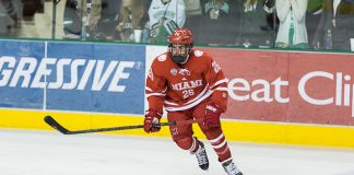 14 Nov.15 The University of North Dakota hosts Miami of Ohio in a NCHC matchup at the Ralph Engelstad Arena in Grand Forks, ND Justin Greenberg (Miami of Ohio-26) (Bradley K. Olson)