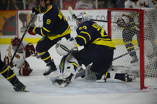 Craig Pantano of Merrimack. Merrimack vs. Denver at Magness Arena, Dec. 29. 2017. (Candace Horgan)