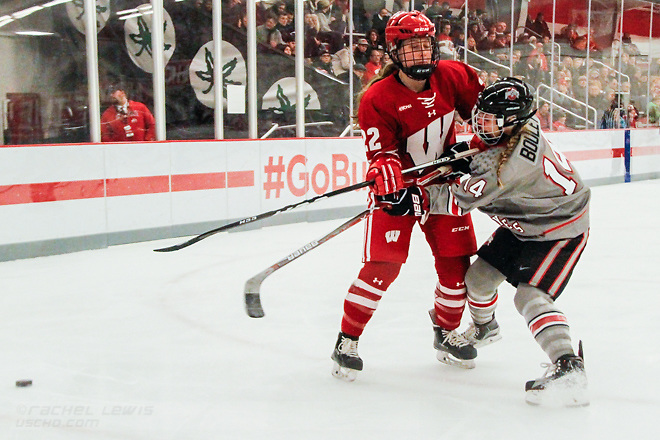 Mekenzie Steffen (Wisc - 22), Samantha Bouley (OSU - 14) The #1 Wisconsin Badgers complete the sweep over the Ohio State Buckeyes with a 5-0 win Saturday, December 10, 2016 at the OSU Ice Rink in Columbus, OH. (Rachel Lewis)