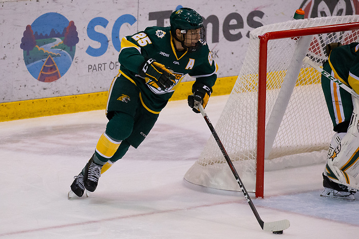 19 Oct 18: Philip Beaulieu (Northern Michigan - 25). The St. Cloud State University Huskies host the Northern Michigan University Wildcats in a non-conference matchup at the Herb Brooks National Hockey Center in St. Cloud, MN. (Jim Rosvold)