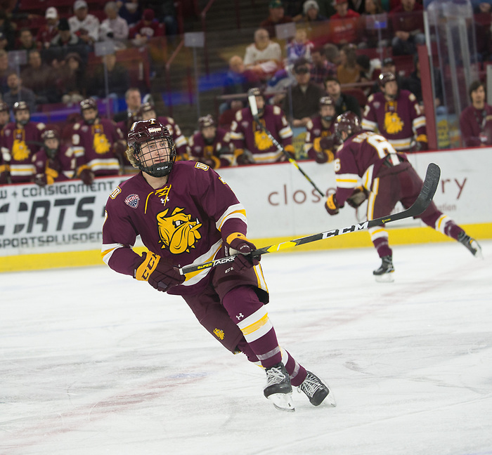 Scott Perunovich of Minnesota Duluth. Minnesota Duluth at Denver at Magness Arena, November 17, 2018. (Candace Horgan)