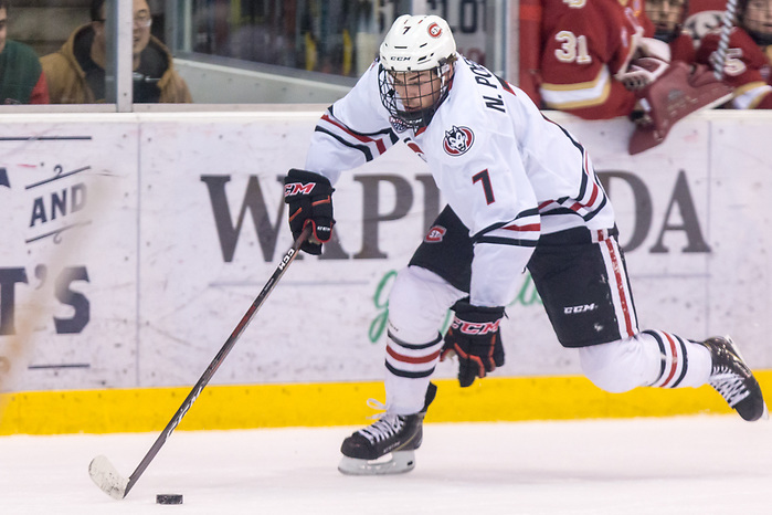 Nick Poehling (SCSU-7) 2018 November 10 St.Cloud State University hosts Denver in a NCHC contest at the Herb Brooks National Hockey Center in St. Cloud, MN (Bradley K. Olson)