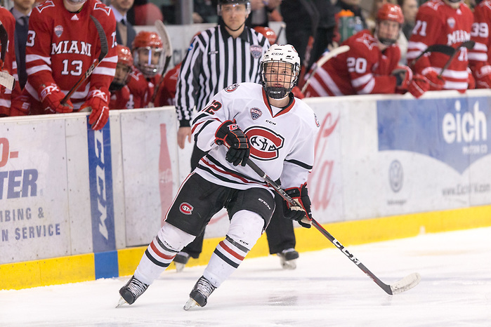 Jack Ahcan (SCSU-12) 2019 March 15 St. Cloud State University hosts Miami of Ohio a NCHC playoff contest at the Herb Brooks National Hockey Center (Bradley K. Olson)