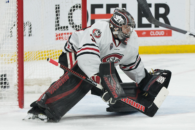 David Hrenak (SCSU-34) 2019 March 23 University of Minnesota Duluth and St. Cloud State University meet in the championship game of the NCHC  Frozen Face Off at the Xcel Energy Center in St. Paul, MN (Bradley K. Olson)