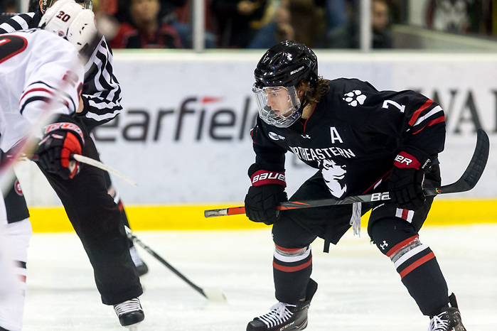John Picking (NORTHEASTERN-7) 2019 October 26 Northeastern and St. Cloud State University meet in non conference game at the Herb Brooks National Hockey Center in St. Cloud, MN (Bradley K. Olson)