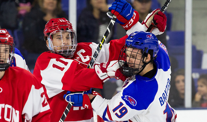 LOWELL, MA - OCTOBER 25: The UMass-Lowell River Hawks play host to the Boston University Terriers during NCAA men's hockey at the Tsongas Center on October 24, 2019 in Lowell, Massachusetts. (Photo by Rich Gagnon) (Rich Gagnon)