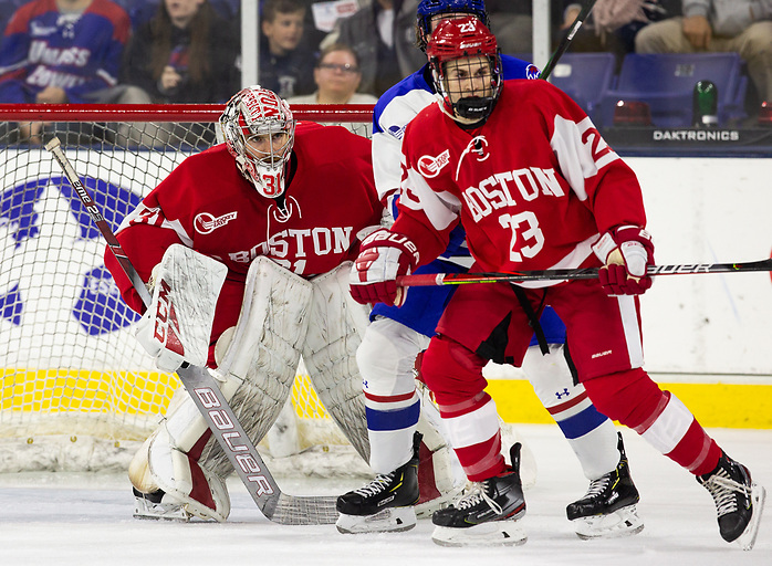 LOWELL, MA - OCTOBER 25: Sam Tucker #31 of the Boston University Terriers. The UMass-Lowell River Hawks play host to the Boston University Terriers during NCAA men's hockey at the Tsongas Center on October 24, 2019 in Lowell, Massachusetts. (Photo by Rich Gagnon) (Rich Gagnon)