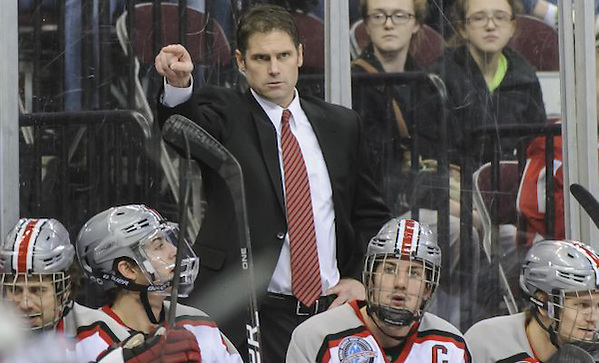 Ohio State's Steve Rohlik directs from the bench. (Jamie Sabau)