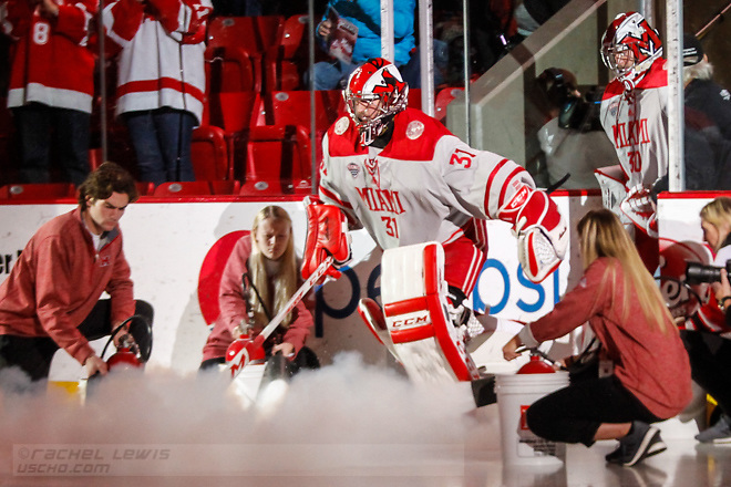 NOV 4, 2017: Ryan Larkin (MIA - 31). The Miami RedHawks lose to the Colorado College Tigers 2-1 Satuday, November 4, 2017 at Steve Cady Arena in Oxford, OH. (Rachel Lewis/©Rachel Lewis)